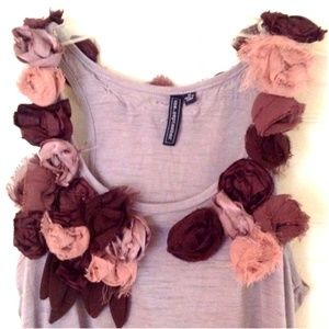 Anthropologie One September Rosette Tank